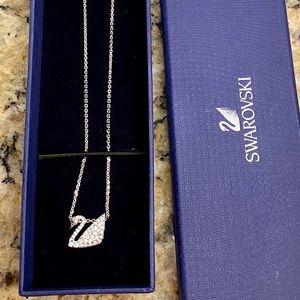 Swarovski Silver Iconic Swan Crystal Necklace